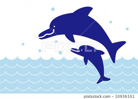父母和小孩 海豚 马车