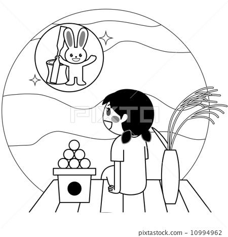幼儿赏月简笔画图片