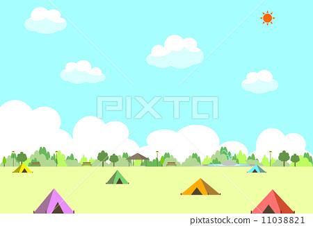 插图 矢量图 营地 露营 野营地