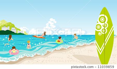 图库插图: 海水浴 矢量 复数