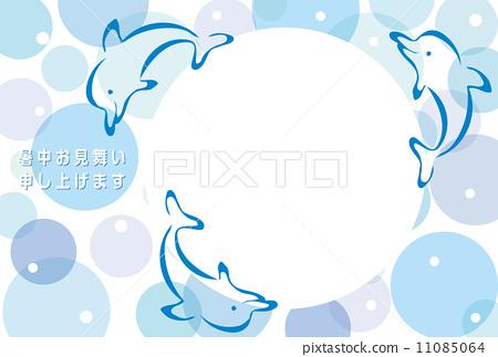 插图 相框 夏季贺卡 海豚 首页 插图 动物_鸟儿 海洋动物 海豚 相框