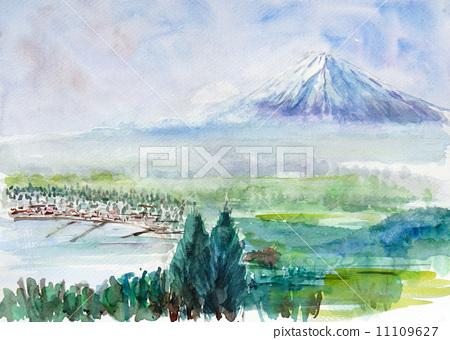 富士山 水彩画 景观