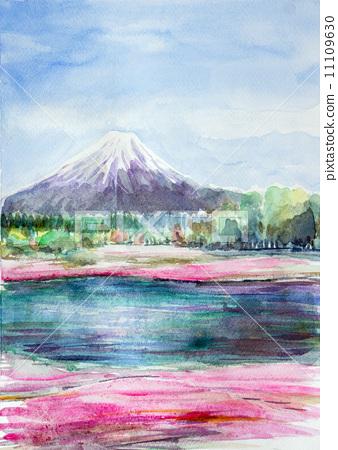 山梨 富士山 插图 富士山 水彩 水彩画 首页 插图 日本风景 山梨 富士
