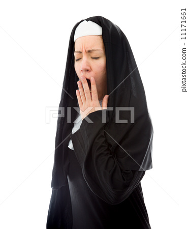 young nun yawning