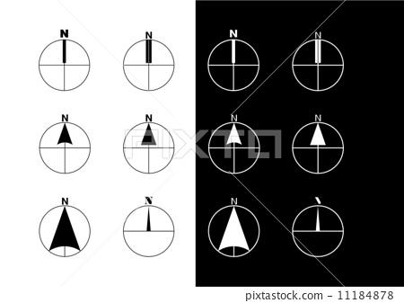 图库插图: 矢量 罗盘指针 地图