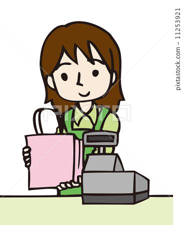 插图素材: 收款台 女生 女孩