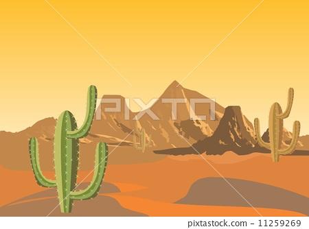 沙漠 矢量图 stock 插图