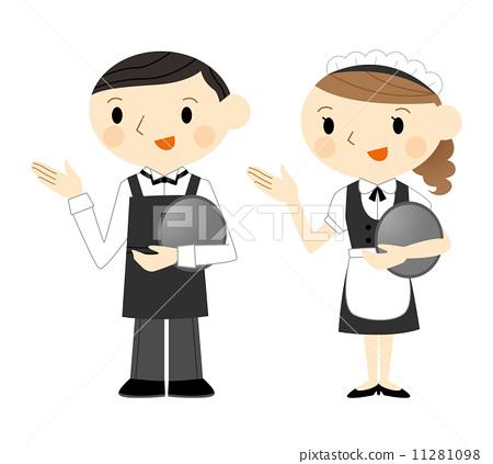 插图素材: 女服务员 侍者 店员