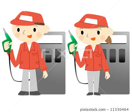 汽油加油站 stock 插图