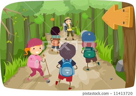 插图 矢量图 hiking kids