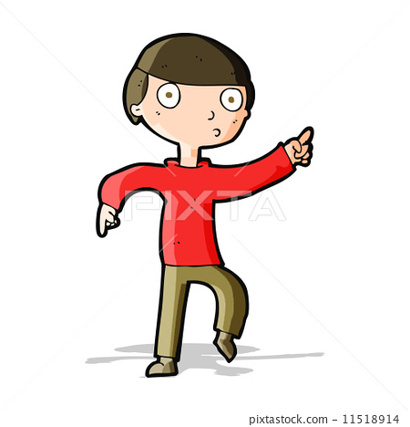 图库插图: cartoon boy pointing