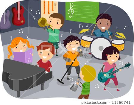 插图 矢量图 kids music room