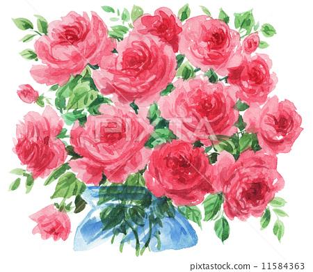 玫瑰花 首页 插图 植物_花 玫瑰 水彩画 玫瑰 玫瑰花  *pixta限定素材