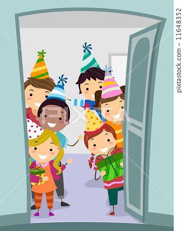 插图 矢量图 welcome party kids