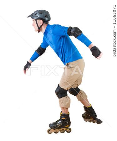 图库照片: man roller skating