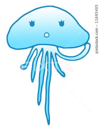 水母简笔画 可爱