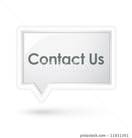 插图素材: contact us words on a speech bubble