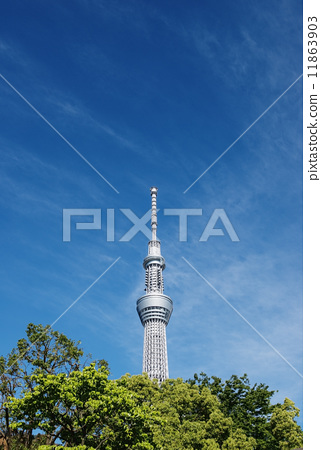 东京晴空塔 天线 蓝天