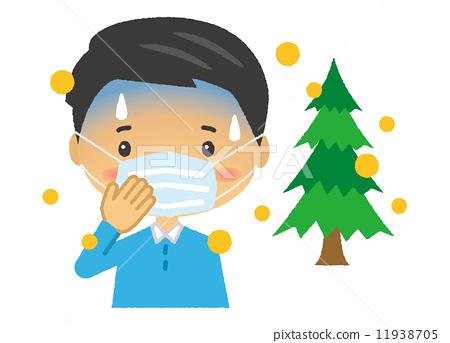 图库插图: 杉木花粉 矢量 花粉过敏