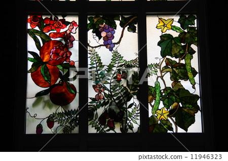 彩色玻璃 花朵 艺术品