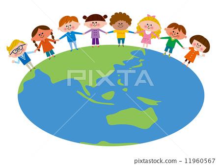 椭圆地球线条矢量图