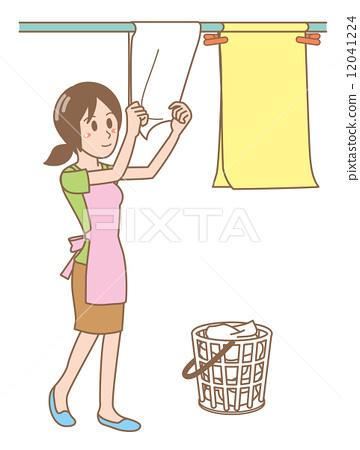 首页 插图 人物 女性 女孩 衣物干燥处 干 洗衣店  *pixta限定素材仅
