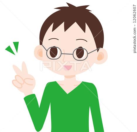 图库插图: 和平标志 胜利手势 男性
