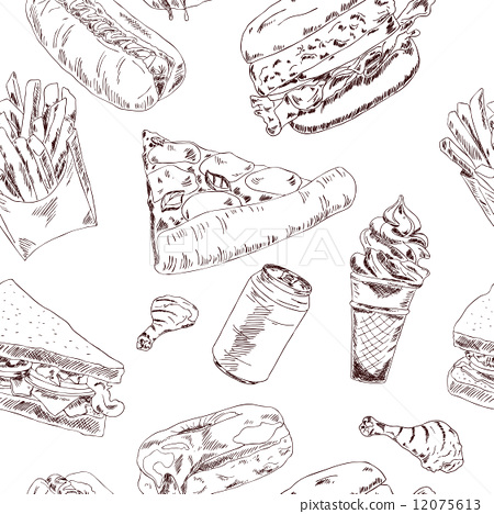 插图素材: fast food sketch seamless