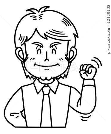 图库插图: 握拳 矢量 人