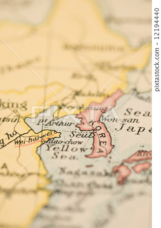 图库照片: 世界地图 古董地图 朝鲜半岛