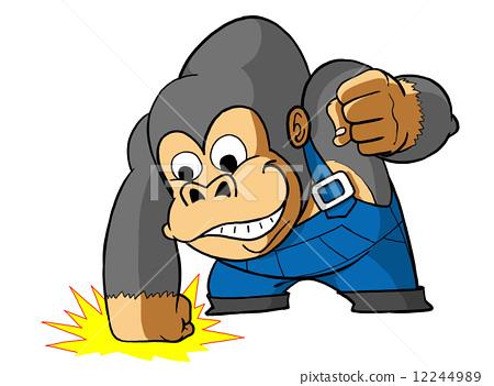 插图素材: 与阴影的茶眼睛大猩猩灰色拳打