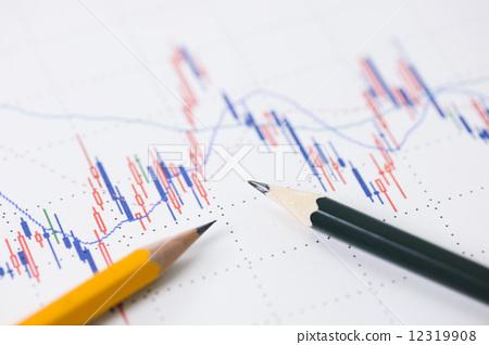 照片素材(图片): 股票价格 股市图 铅笔