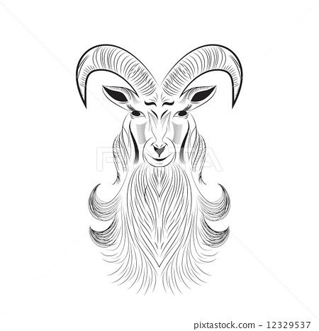 插图素材: goat tattoo