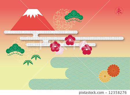 插图 日本风景 山梨 富士山 竹与梅 背景 新年贺卡  *pixta限定素材仅