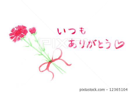 母亲节 水彩画 康乃馨