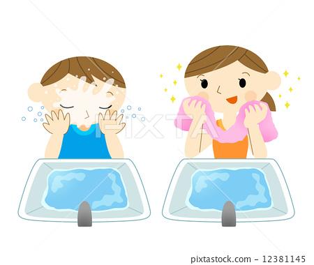 宝宝学洗脸简笔图步骤