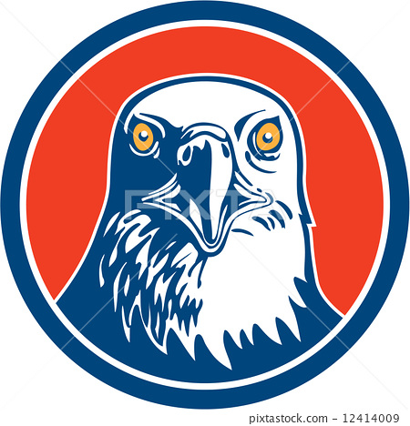 插图素材: american bald eagle head circle retro