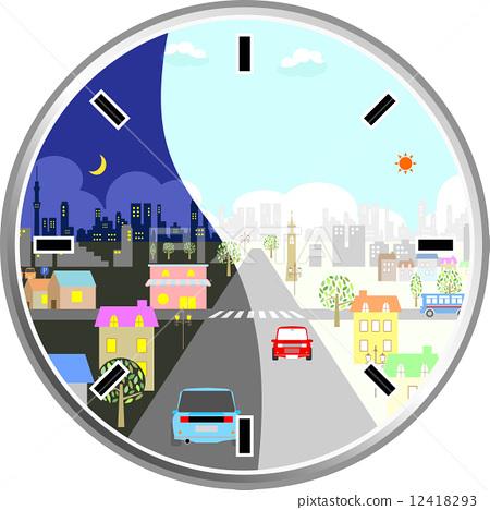 插图 矢量图 时间 钟 时钟