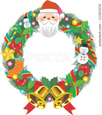圣诞花环 圣诞老人 首页 插图 活动_节日 圣诞节 圣诞花环 矢量图