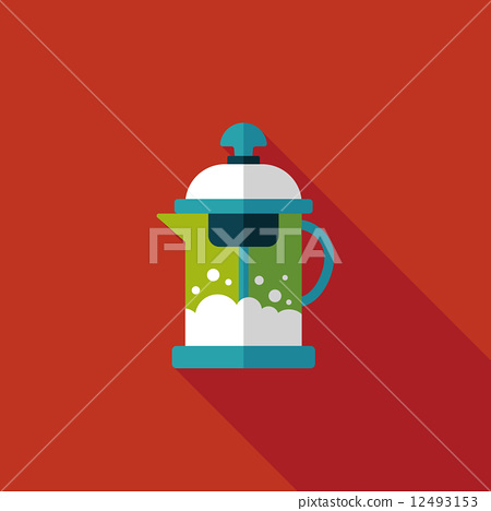 tea pot flat icon with long shadow,eps10 12493153
