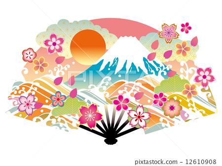 插图素材: 日本扇子 矢量 富士山