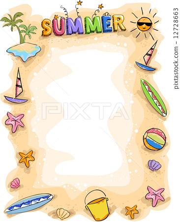 边框简笔画夏天