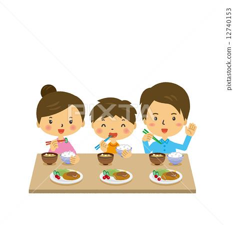 插图素材: 家庭餐晚餐