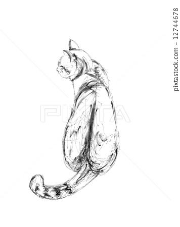 图库插图: 钢笔画 背影 猫