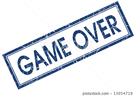 图库插图: game over blue square stamp isolated on white