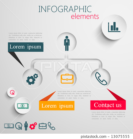 abstract 3d paper infographic elements for print or web design.