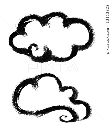 图库插图: 毛笔绘画 云 云彩