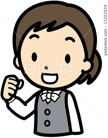 图库插图: 矢量 握拳 女生