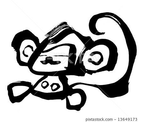 图库插图: 毛笔绘画 手写 矢量