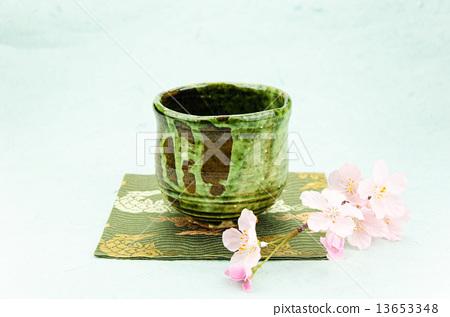 图库照片: 绿茶碗 樱花 樱桃树